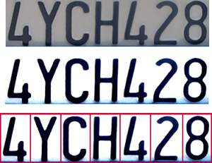 character recognition of license plate
