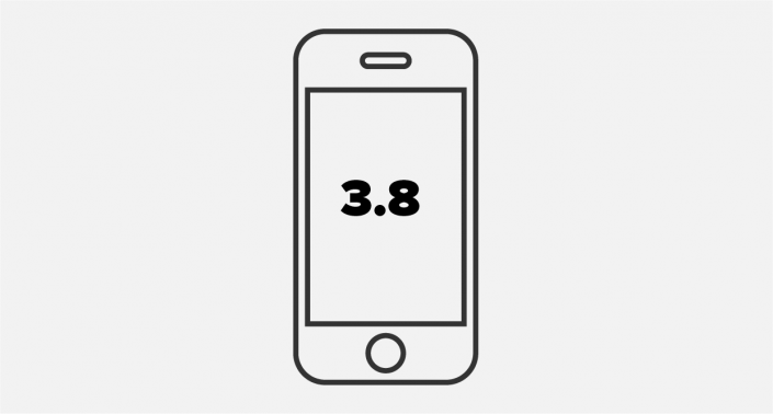 smartphone vector on grey brackground with the number 3.8 on display for the anyline ocr sdk 3.8 release