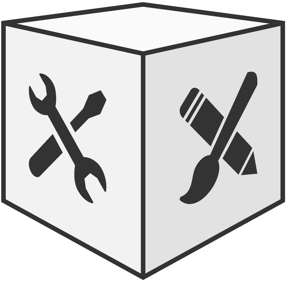 graphic of a cube with tools and pencil and brush on it